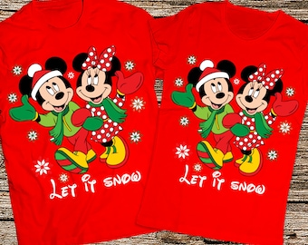 Let it snow couple shirts, Mickey and Minnie Christmas couple shirts, Disney couple christmas shirts 2017, Matching Christmas couple shirts