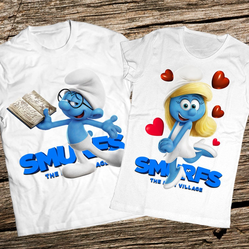 3D Couple Smurf Tshirts, Brainy smurf and Smurf Smurfette, Couple shirts, Smurf and clothing, Smurfs party shirt, Smurfs birthday, Couple smurf tshirt a28073