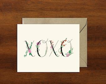 Floral Love XOXO Card // A2 Size