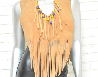 5212c40fe1 Vintage Tan Suede Fringe Top Bohemian Hippie Style Festival Blouse Women s  Shawl Over the Shoulder Cover Up Tribal Native Style S M 1970 s
