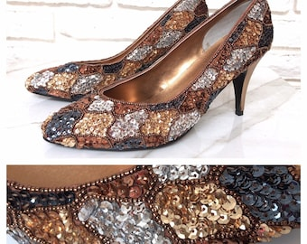 a54ece903aa7d Beaded heels   Etsy
