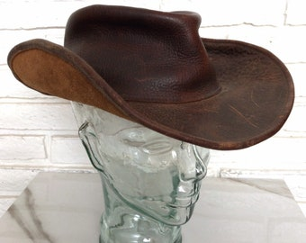 96c5259c877 Vintage Brown Leather Cowboy Hat with Bendable Brim size Large Rustic  Country Western Hat