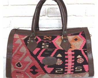 2ed83ecb82 Vintage Aztec Tribal Print Top Handle Bag Bohemian Style Textile Purse