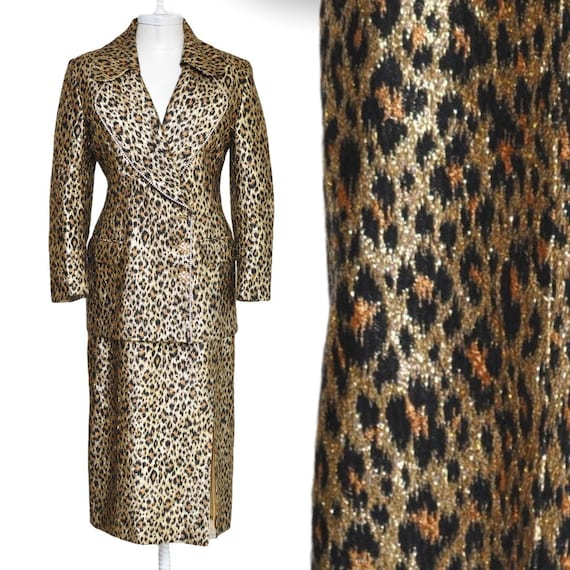 Vintage Gold Lame Leopard Print Skirt Suit Shiny 7