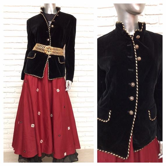 Vintage Black Velvet Blazer With Gold Trim Militar