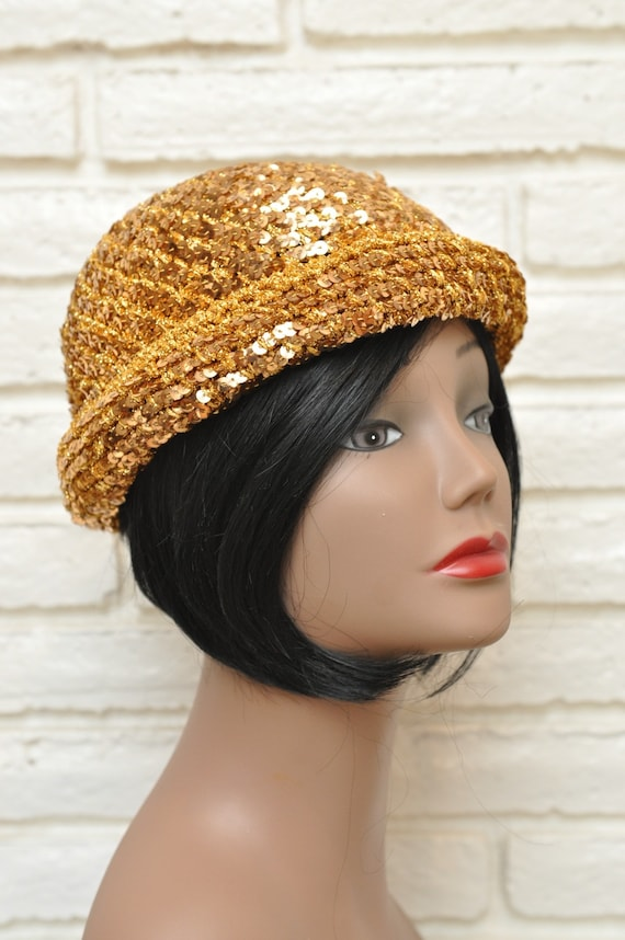 1970's Gold Sequins Womens Hat Stretchy Beanie Sk… - image 4
