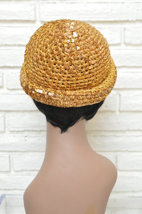 1970's Gold Sequins Womens Hat Stretchy Beanie Sk… - image 6