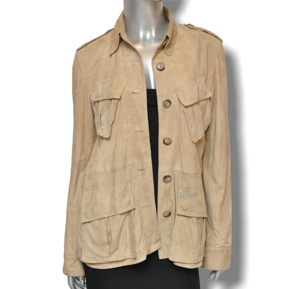 Vintage Ralph Lauren Beige Suede Leather Safari J… - image 3