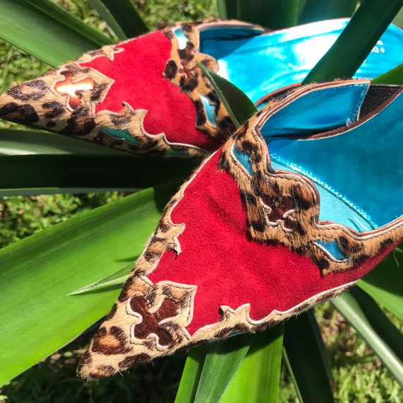 Vintage Pointy Toe Cowboy Boot Mules Leopard Prin… - image 7