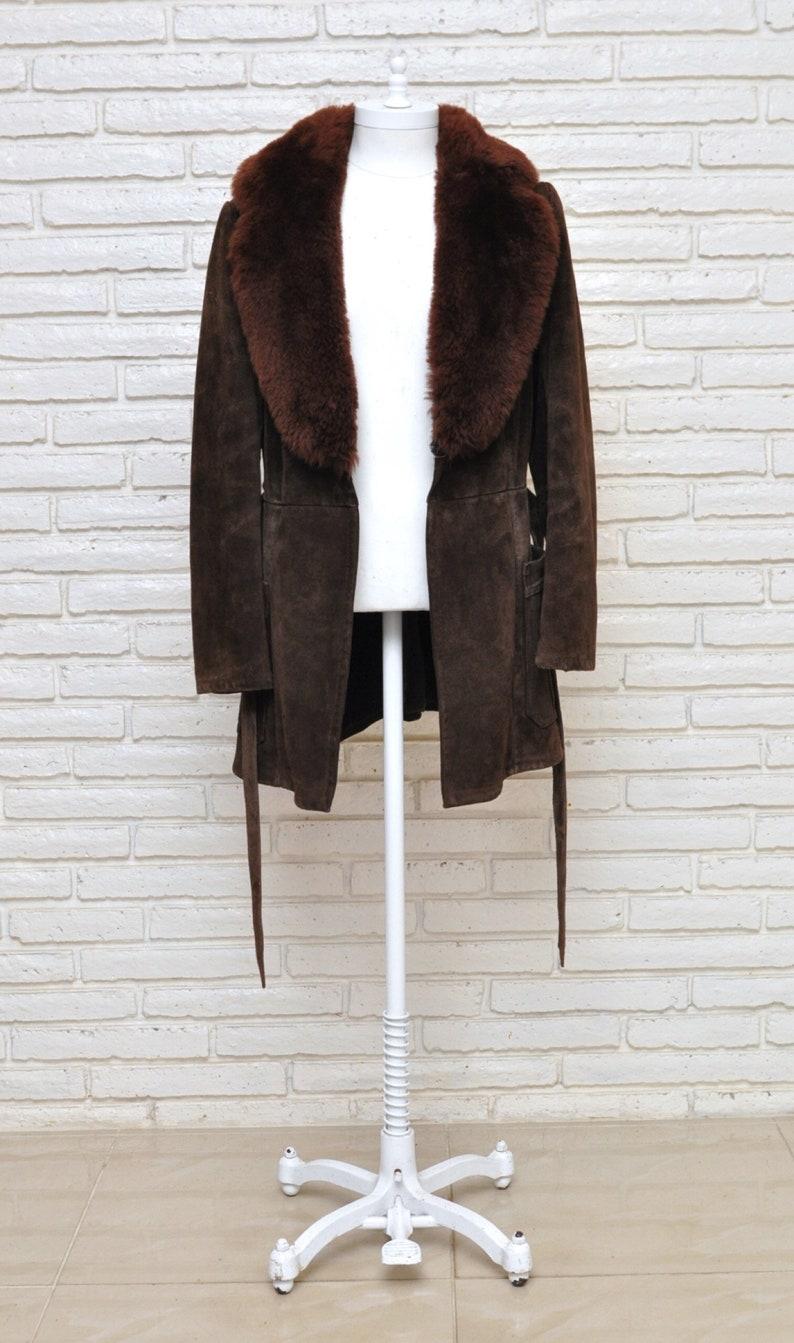 Vintage Women\u2019s Brown Suede Belted Shearling Coat Heavy Winter Jacket M