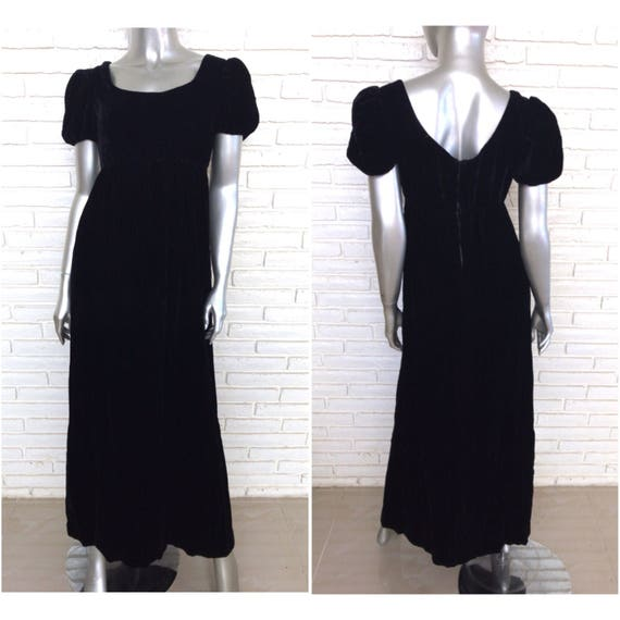 Vintage Black Velvet Empire Waist Peasant Dress Si