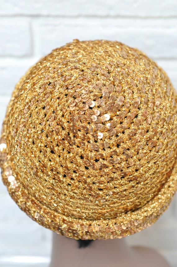 1970's Gold Sequins Womens Hat Stretchy Beanie Sk… - image 8