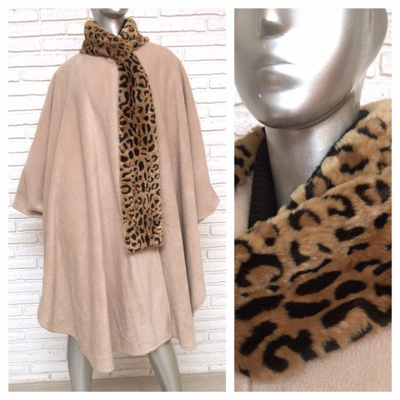 Womens Beige Cape with Attached Leopard Print Scar