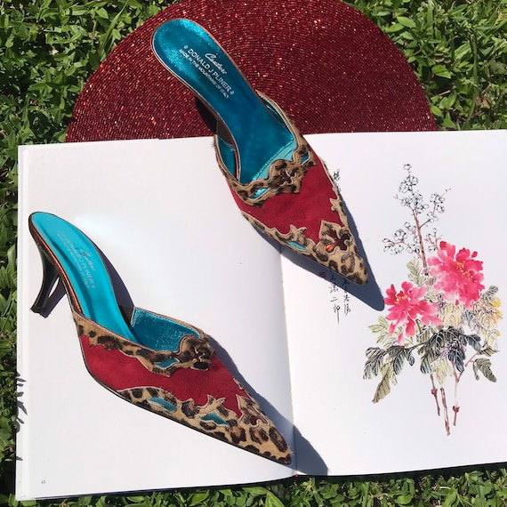 Vintage Pointy Toe Cowboy Boot Mules Leopard Prin… - image 5