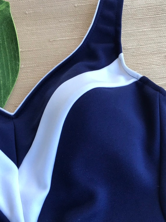 Vintage Women's Swimsuit One Piece Navy Blue Whit… - image 3