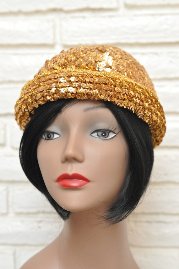1970's Gold Sequins Womens Hat Stretchy Beanie Sk… - image 7