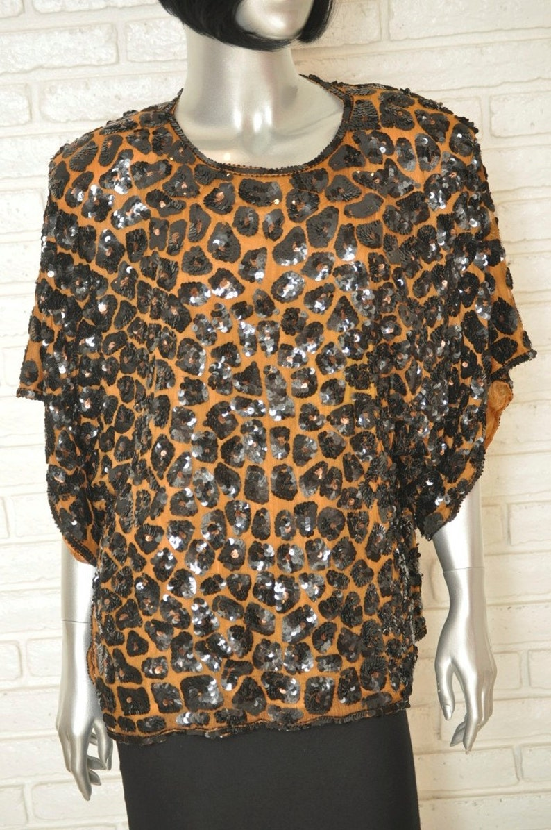 ef6bc60a2db47 Vintage Leopard Print Sequin Blouse 100% Silk Animal Print