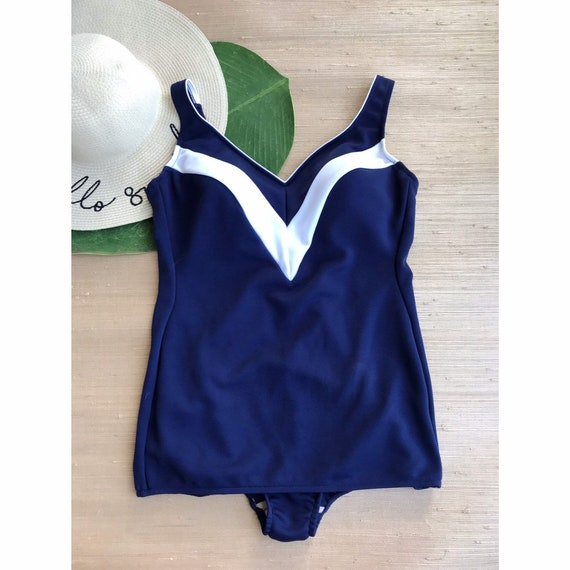 Vintage Women's Swimsuit One Piece Navy Blue Whit… - image 1