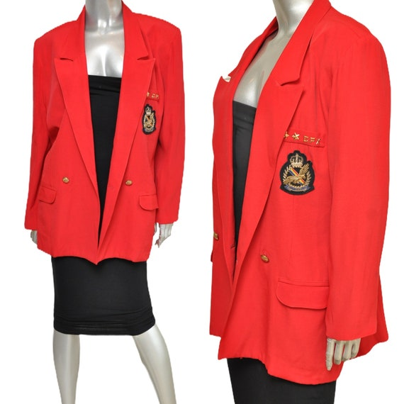 Vintage Red Oversized Blazer with Royal Crest Loos