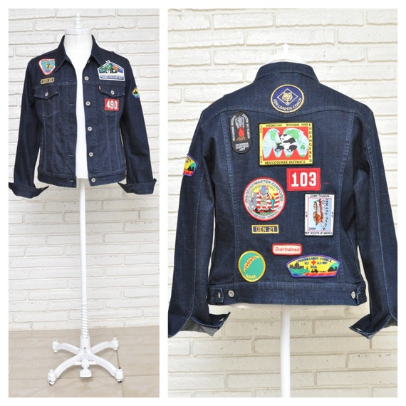 Vintage Boy Scout Patch Dark Wash Jean Jacket 90's