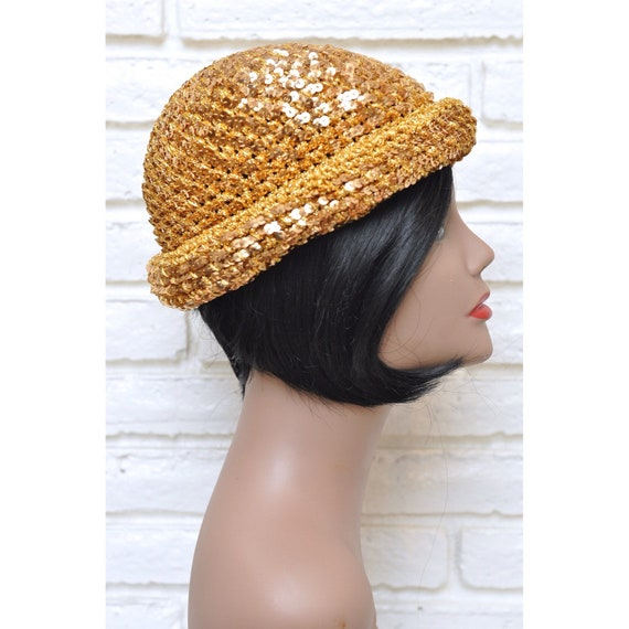 1970's Gold Sequins Womens Hat Stretchy Beanie Sk… - image 1