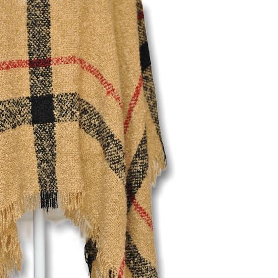 Vintage Turtleneck Cape Sweater Beige and Black P… - image 9