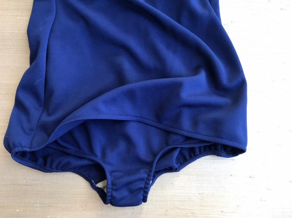 Vintage Women's Swimsuit One Piece Navy Blue Whit… - image 4