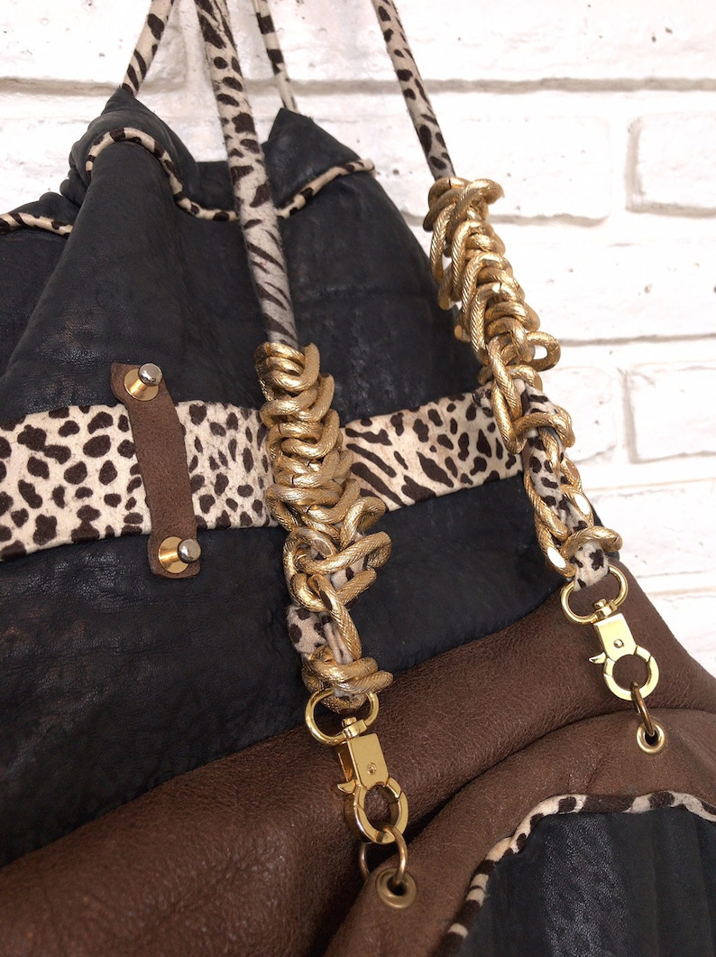 Vintage Women/'s Black Brown Leather Backpack Purse with Animal Print 80/'s Carry On Weekender Bag