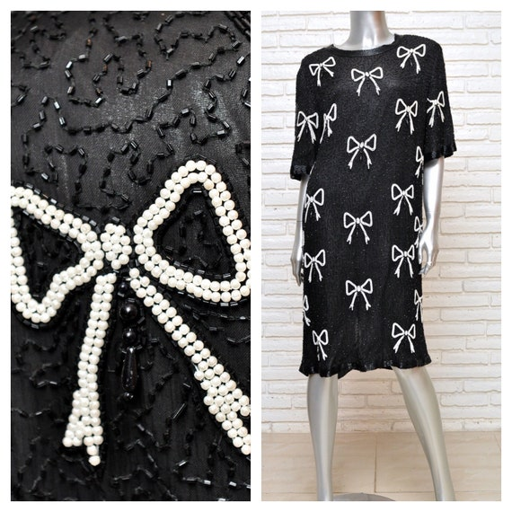 Vintage Black Silk Beaded Dress with Pearl Bows Pl