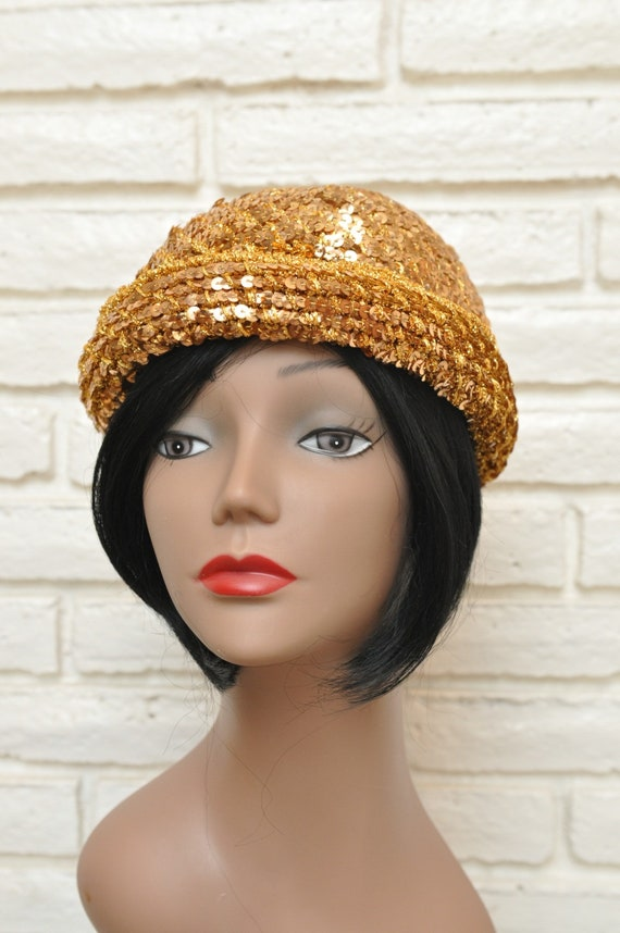 1970's Gold Sequins Womens Hat Stretchy Beanie Sk… - image 2