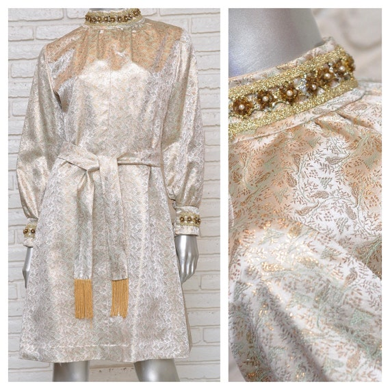 Vintage Gold Lame Mod Mini Dress Trees and Bird Pr