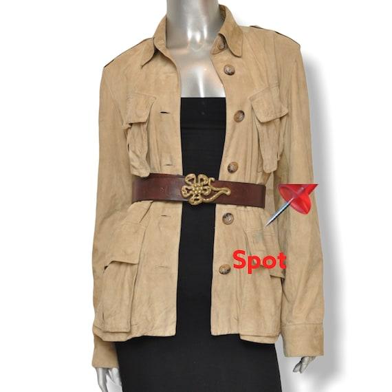 Vintage Ralph Lauren Beige Suede Leather Safari J… - image 9
