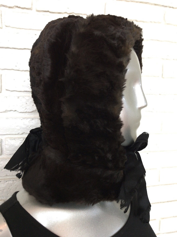 Vintage Sheared Mink Hood Hat 1940's Full Coverage
