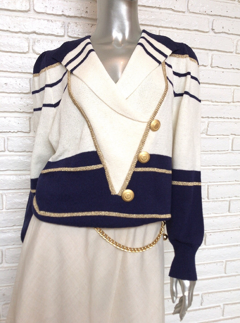 Vintage 80/'s Nautical Style Sweater Cream and Navy Blue Knit Pullover Sweater with Gold Buttons 1980/'s Steven Epic