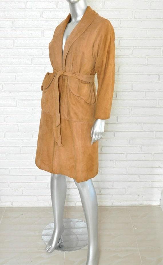 Vintage Camel Suede Belted Coat  Women's Size Medi