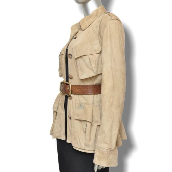 Vintage Ralph Lauren Beige Suede Leather Safari J… - image 7