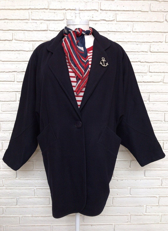 Womens Vintage Navy Blue Wool Jacket Size XL Overs