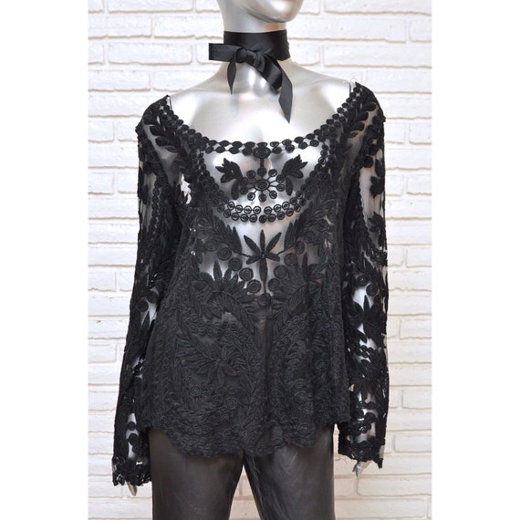 70's Sheer Black Embroidered Tunic Blouse Boho Wom