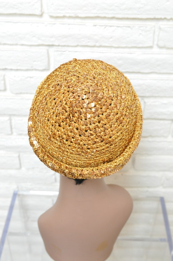 1970's Gold Sequins Womens Hat Stretchy Beanie Sk… - image 9