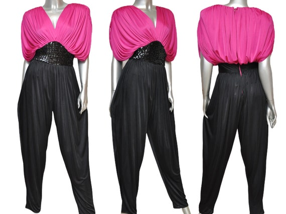 70's Pink and Black Jumpsuit Harem Pants Rouched S