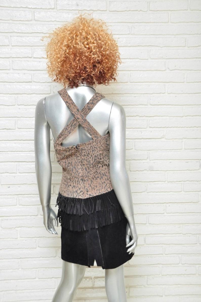 Vintage schwarz Wildleder Kleid mit Leopard Print und ...