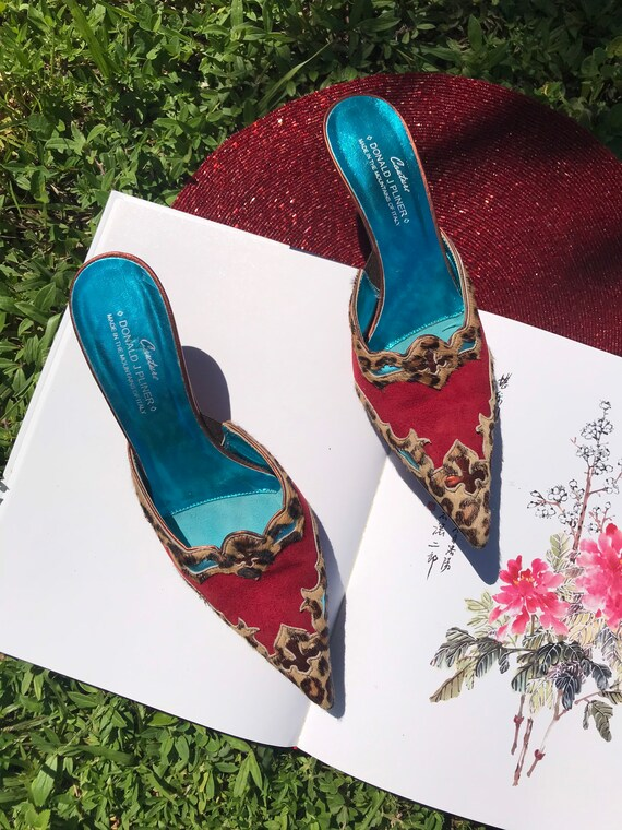 Vintage Pointy Toe Cowboy Boot Mules Leopard Prin… - image 3