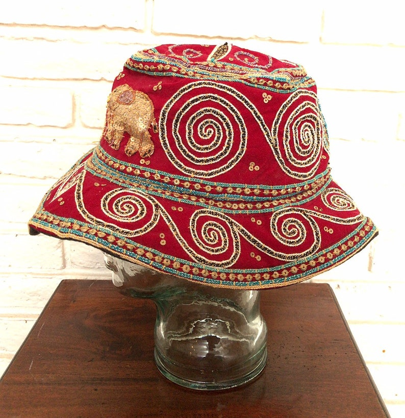 5d1adb99ec259 Vintage Bohemian Bucket Hat Sequins Embroidered Elephants Red