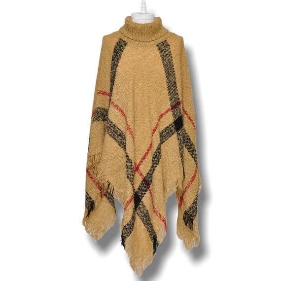 Vintage Turtleneck Cape Sweater Beige and Black P… - image 2