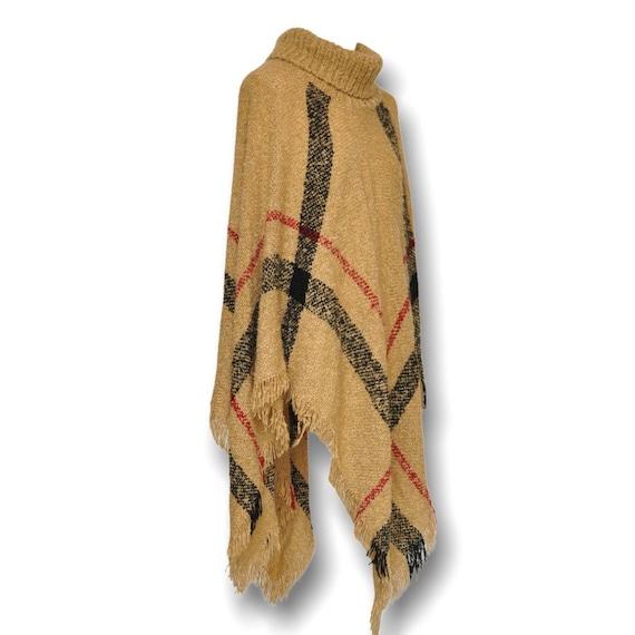 Vintage Turtleneck Cape Sweater Beige and Black P… - image 3