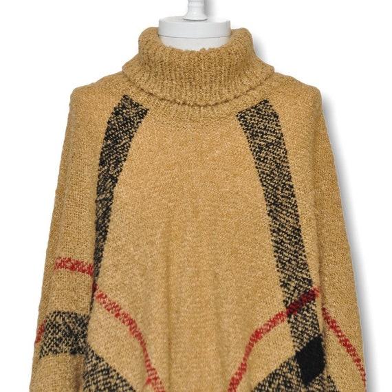 Vintage Turtleneck Cape Sweater Beige and Black P… - image 8
