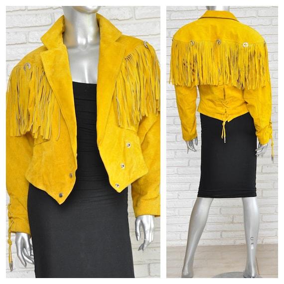Vintage Yellow Suede Fringe Jacket Women's Western