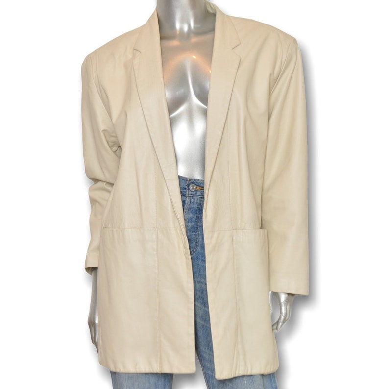 Vintage Cream Leather Loose Fit Blazer Jacket ML Neutral Minimalist
