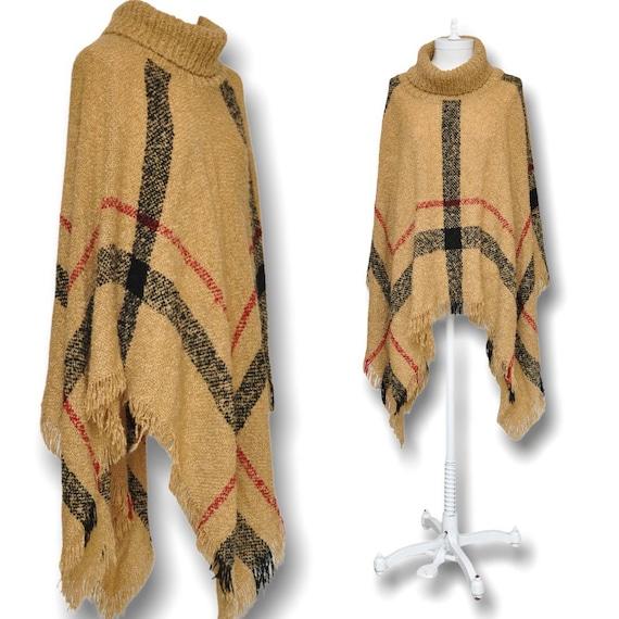 Vintage Turtleneck Cape Sweater Beige and Black P… - image 1
