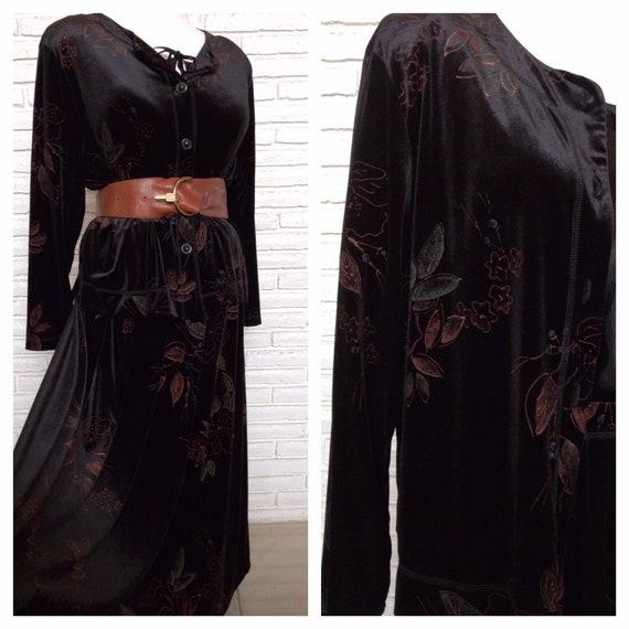 Vintage Black Velvet Floral Print Jacket and Skirt